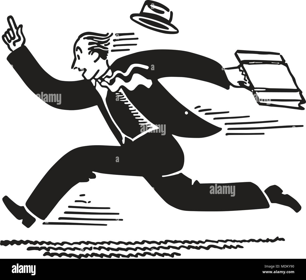 Businessman Running - Retro Clipart Illustration - Stock Image