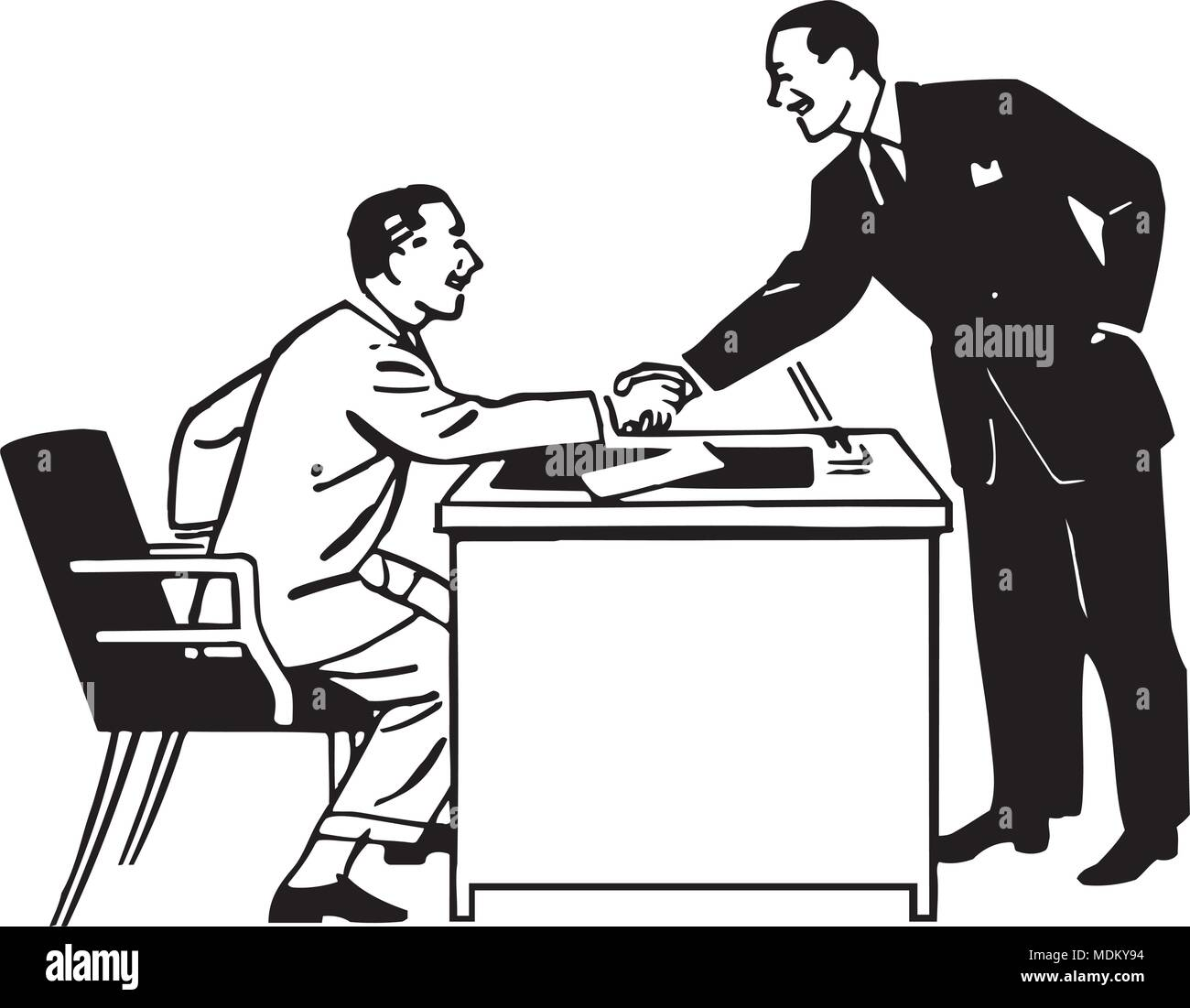 Business Transaction - Retro Clipart Illustration - Stock Image