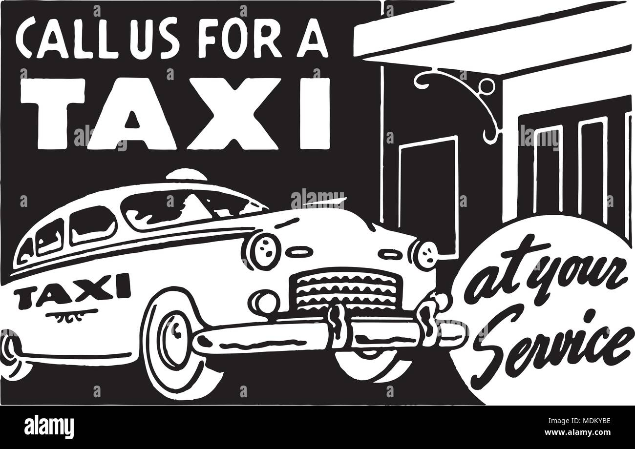 Call Us For A Taxi - Retro Ad Art Banner - Stock Vector