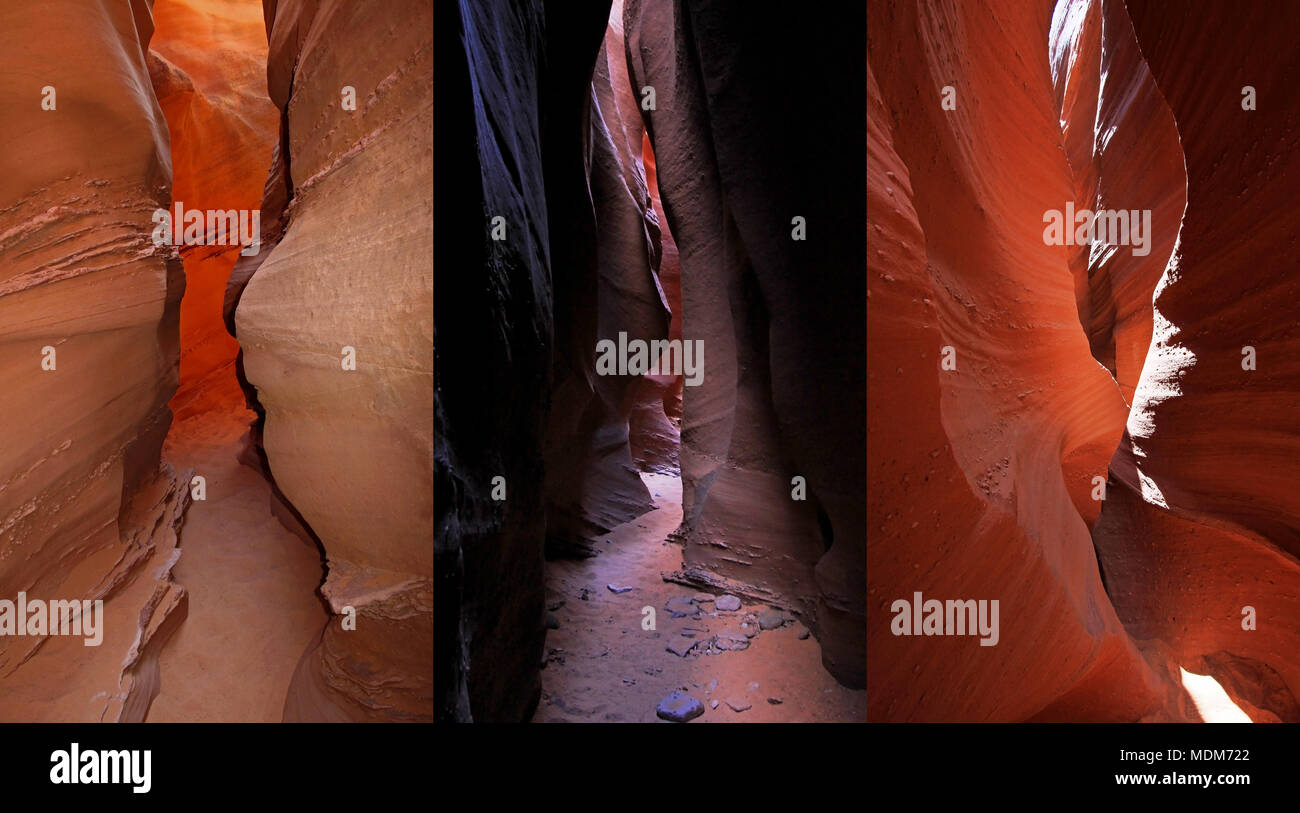 Compilation of Peek A Boo slot canyon, at Dry Fork, a branch of Coyote Gulch, Hole In The Rock Road, Grand Staircase Escalante National Monument, Utah Stock Photo