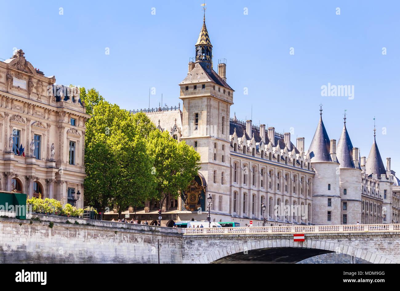 Hotel de Ville (City Hall) and Castle Conciergerie. Pont au Change. Paris, France. - Stock Image