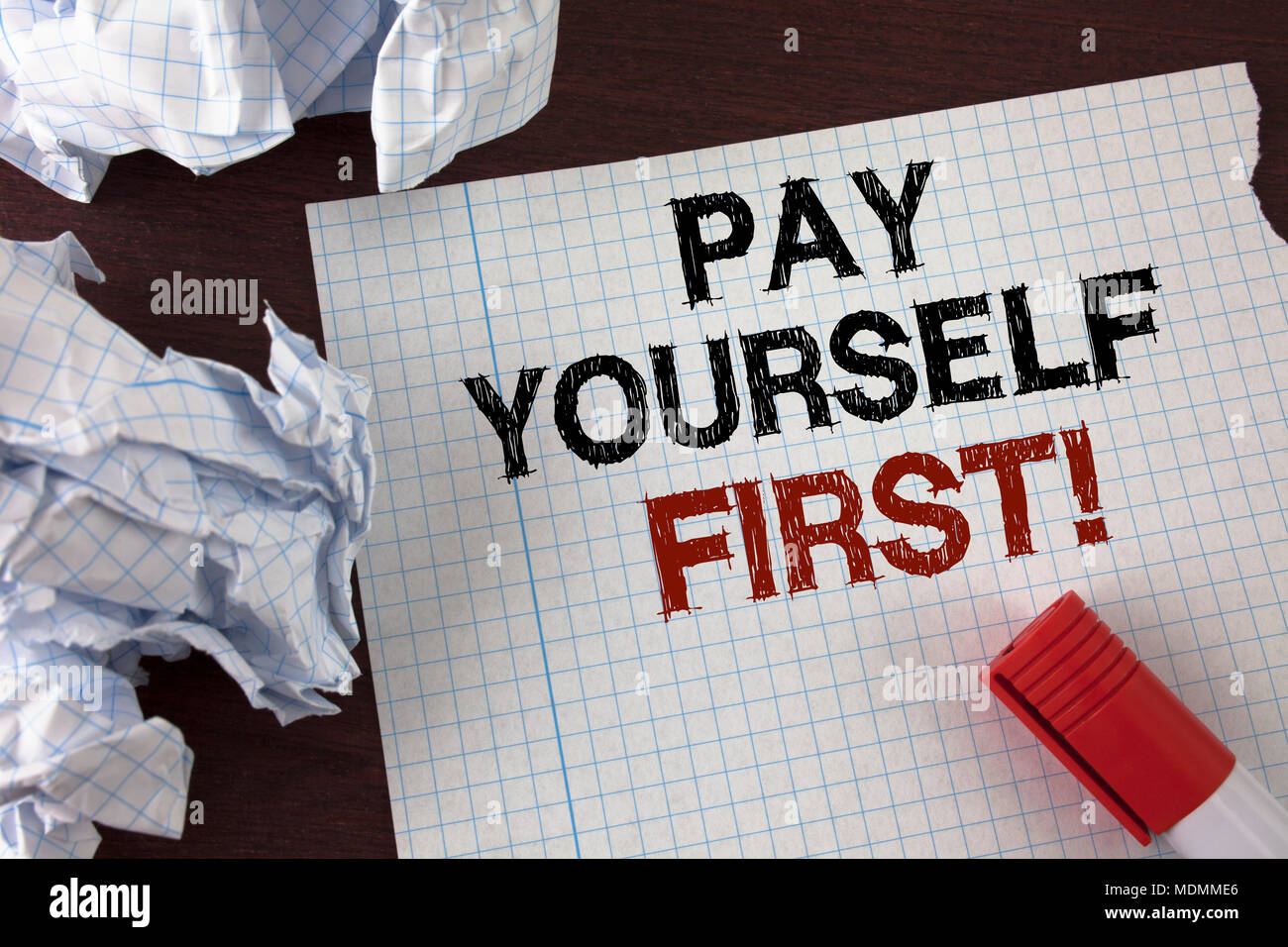 Word writing text Pay Yourself First Motivational Call. Business concept for Personal Finance Save money for future written Tear Notebook Paper wooden - Stock Image