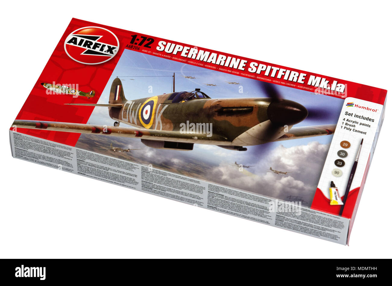 An Airfix model aeroplane kit - the classic 1/72 scale Spitfire - Stock Image