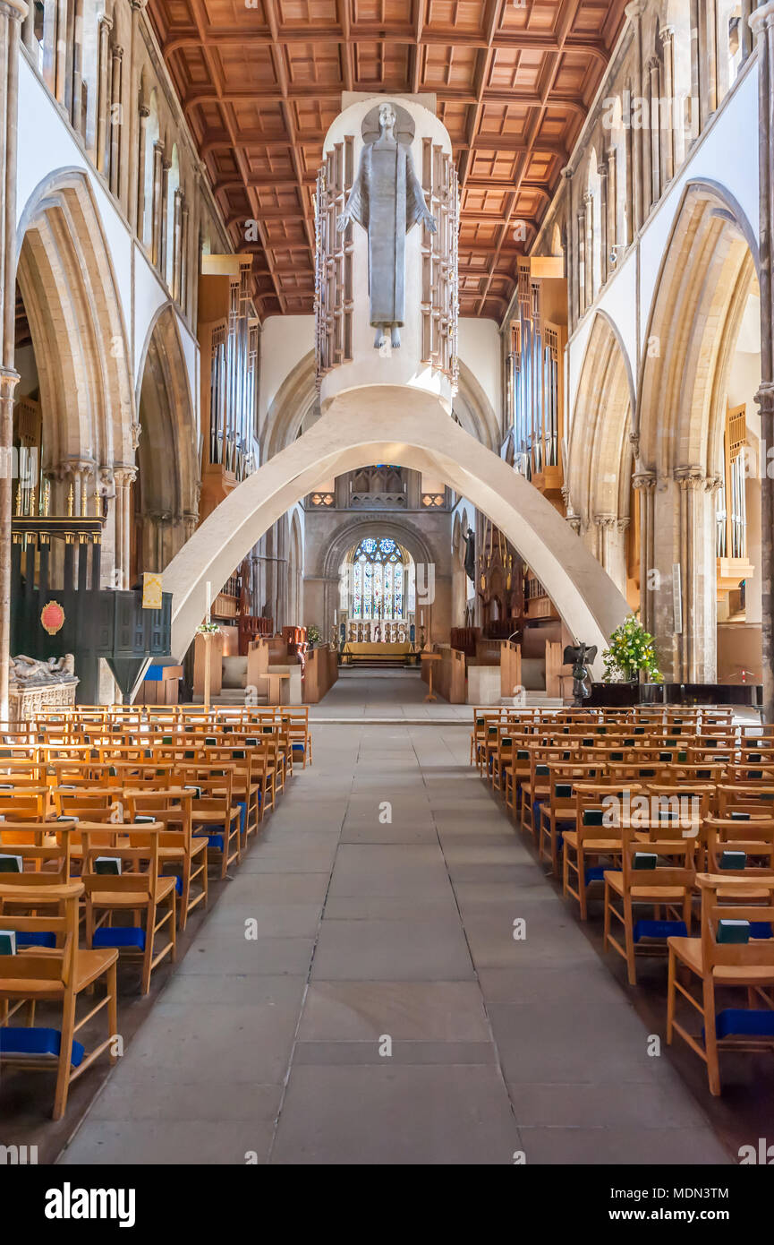 Interior of Llandaff Cathedral, including the 'Majestas' figure of Christ by Jacob Epstein - Stock Image