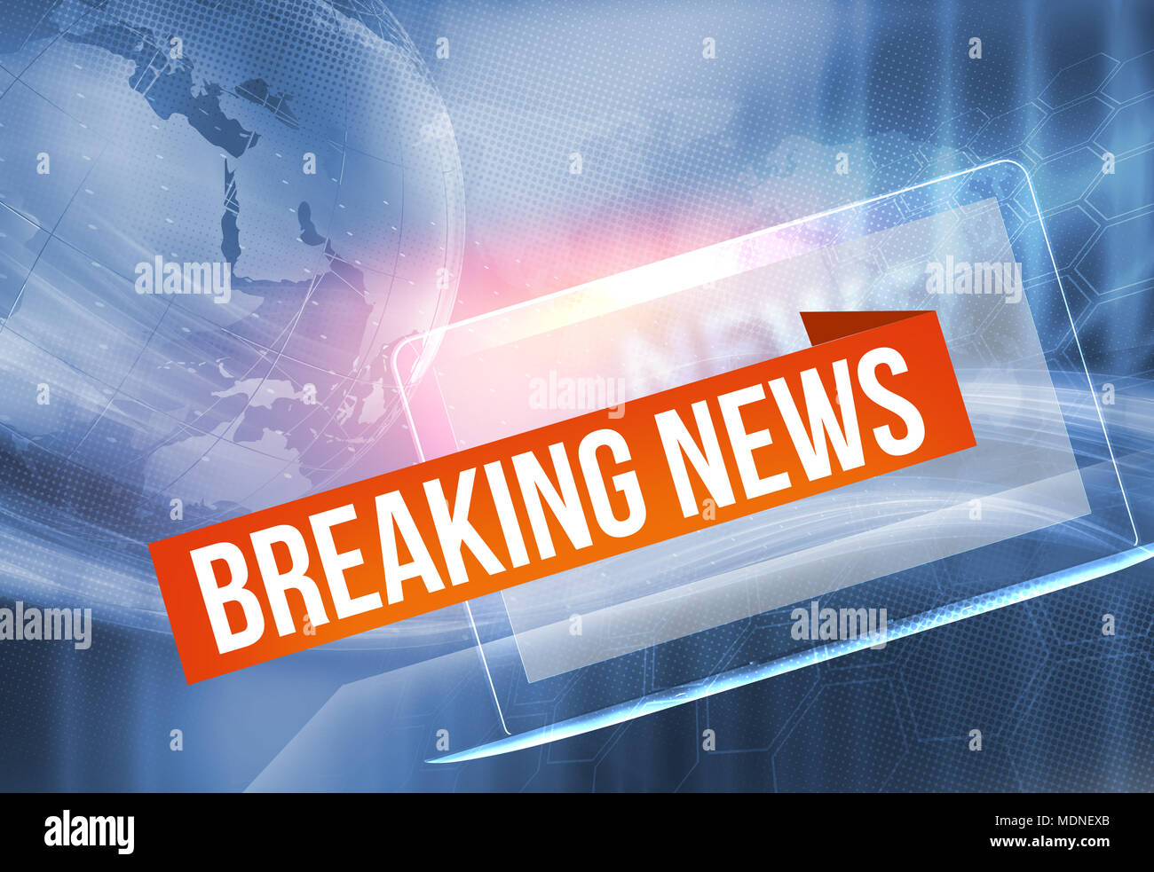 Graphical breaking news background, waving lines passing through modern laptop. Digital technology concept - Stock Image