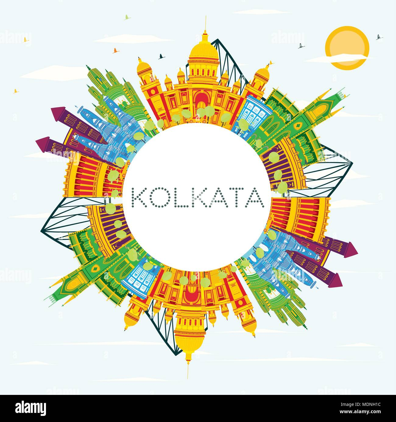 Kolkata India Skyline with Color Buildings, Blue Sky and Copy Space. Vector Illustration. Business Travel and Tourism Concept with Historic Buildings. - Stock Vector