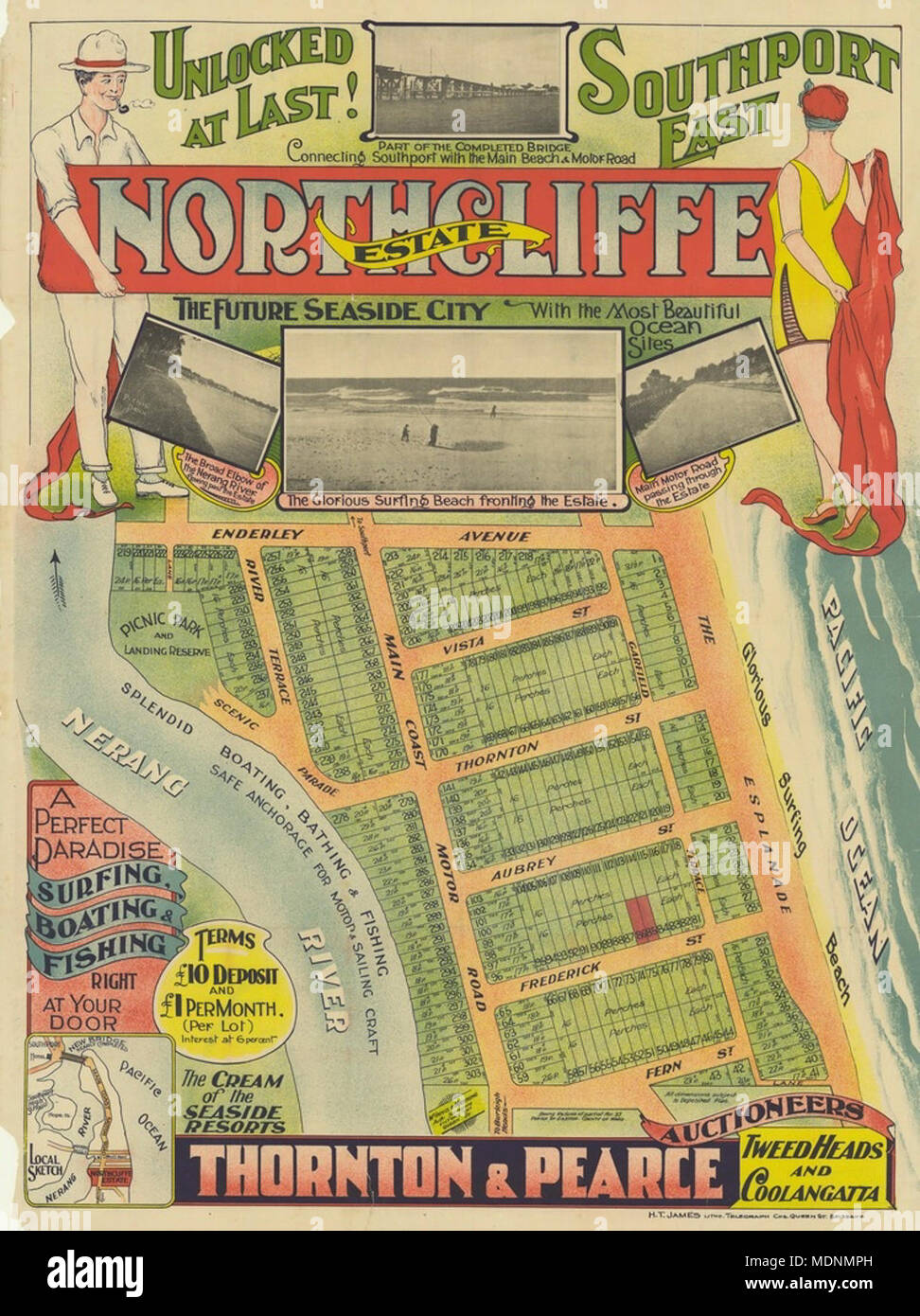 Real estate map of Northcliffe Estate, ca 1920s Stock Photo