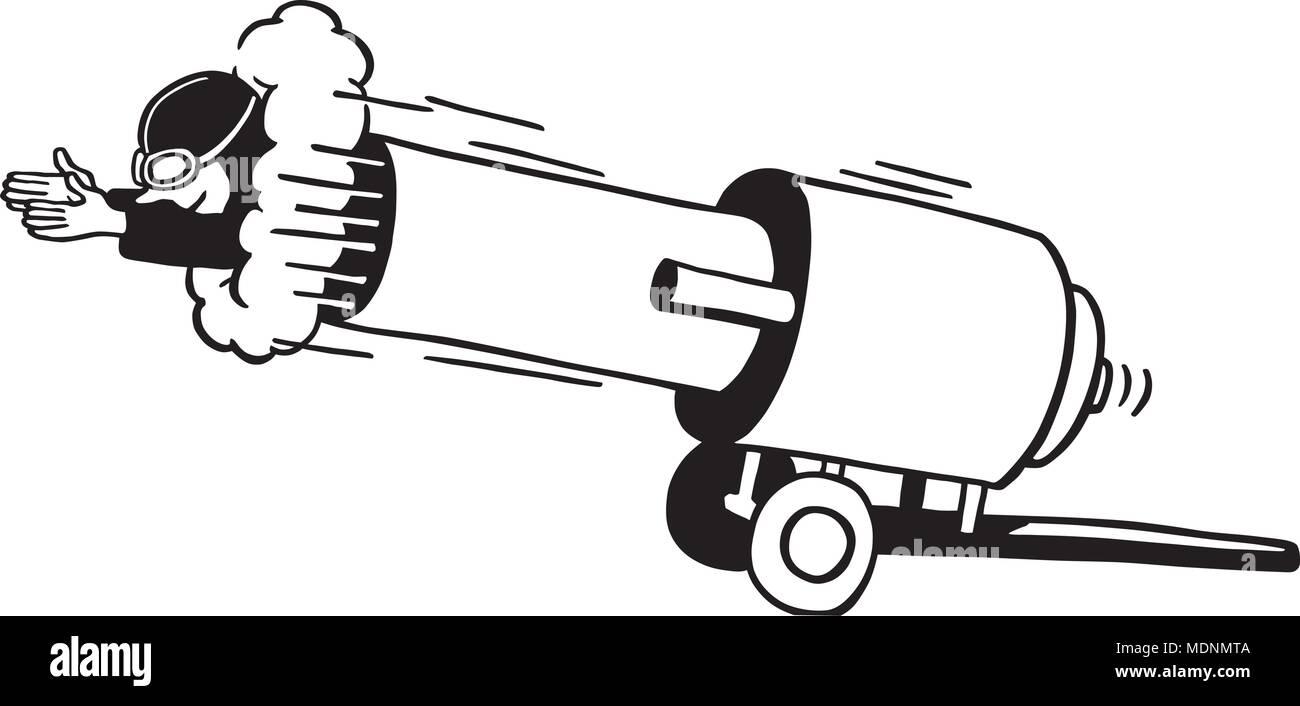 Cannon Man - Retro Clipart Illustration - Stock Image