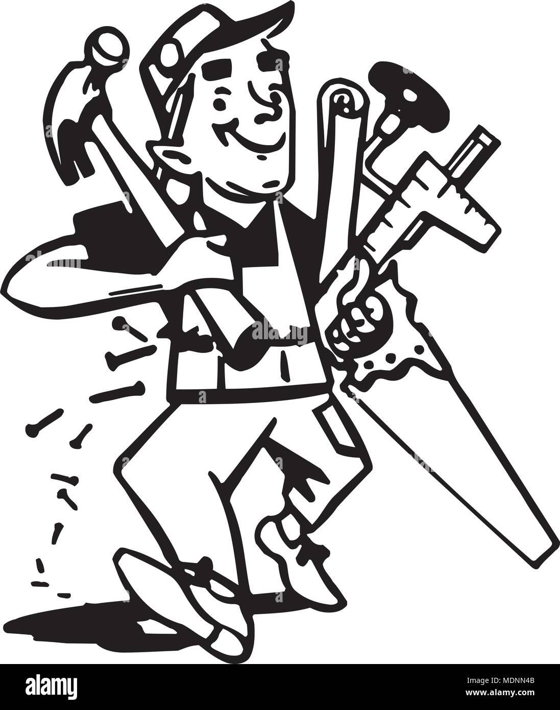 Carpenter With Tools - Retro Clipart Illustration Stock Vector