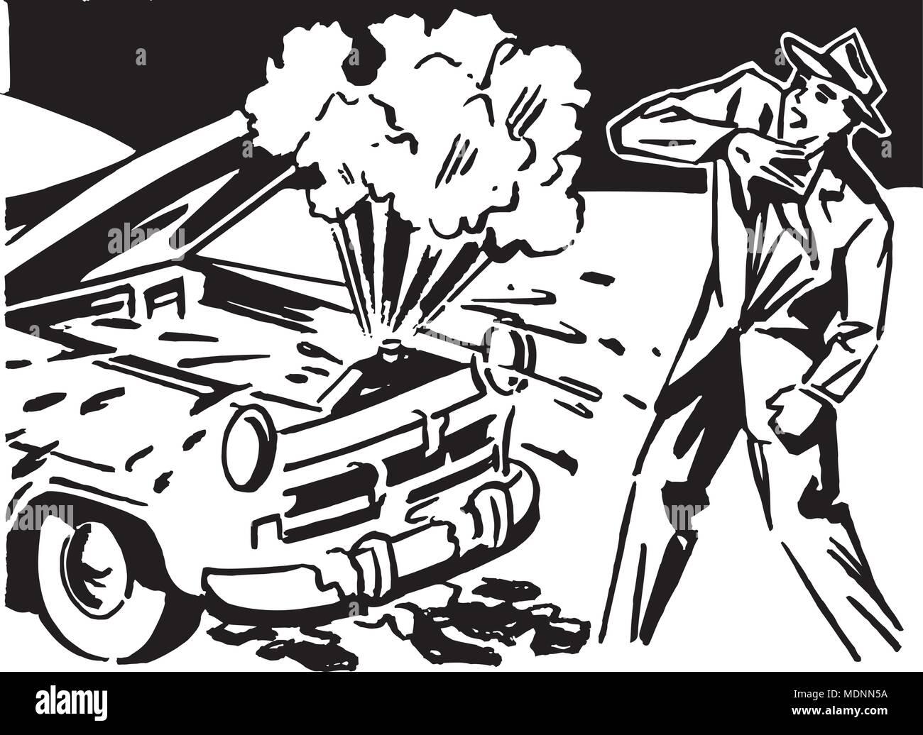 Car Trouble - Retro Clipart Illustration - Stock Vector