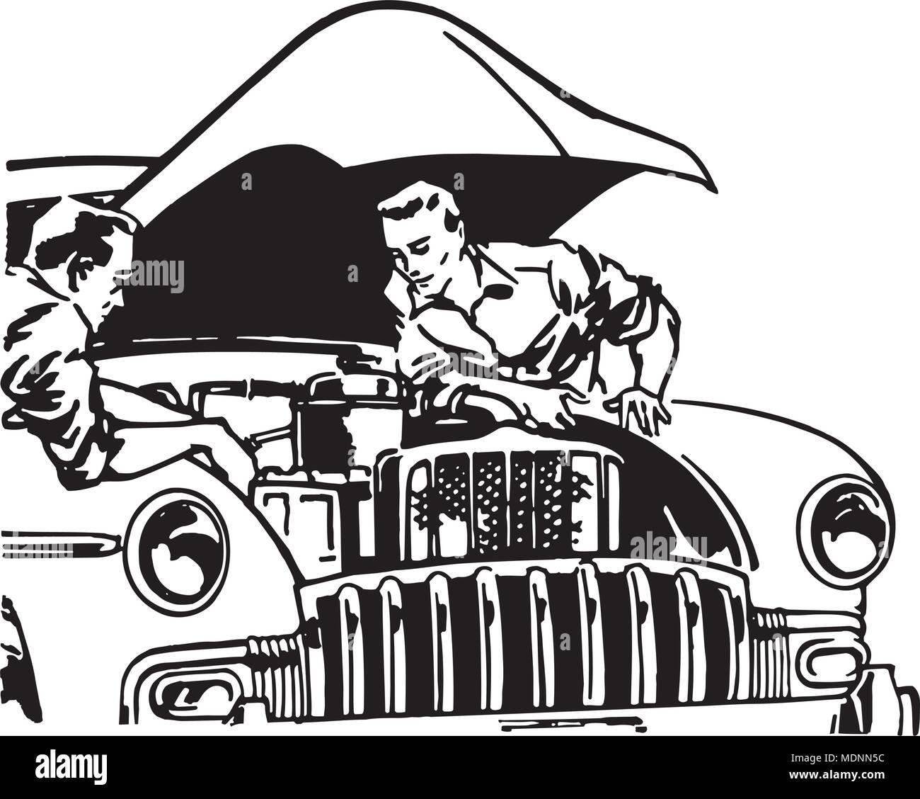 Car Tune Up - Retro Clipart Illustration - Stock Vector