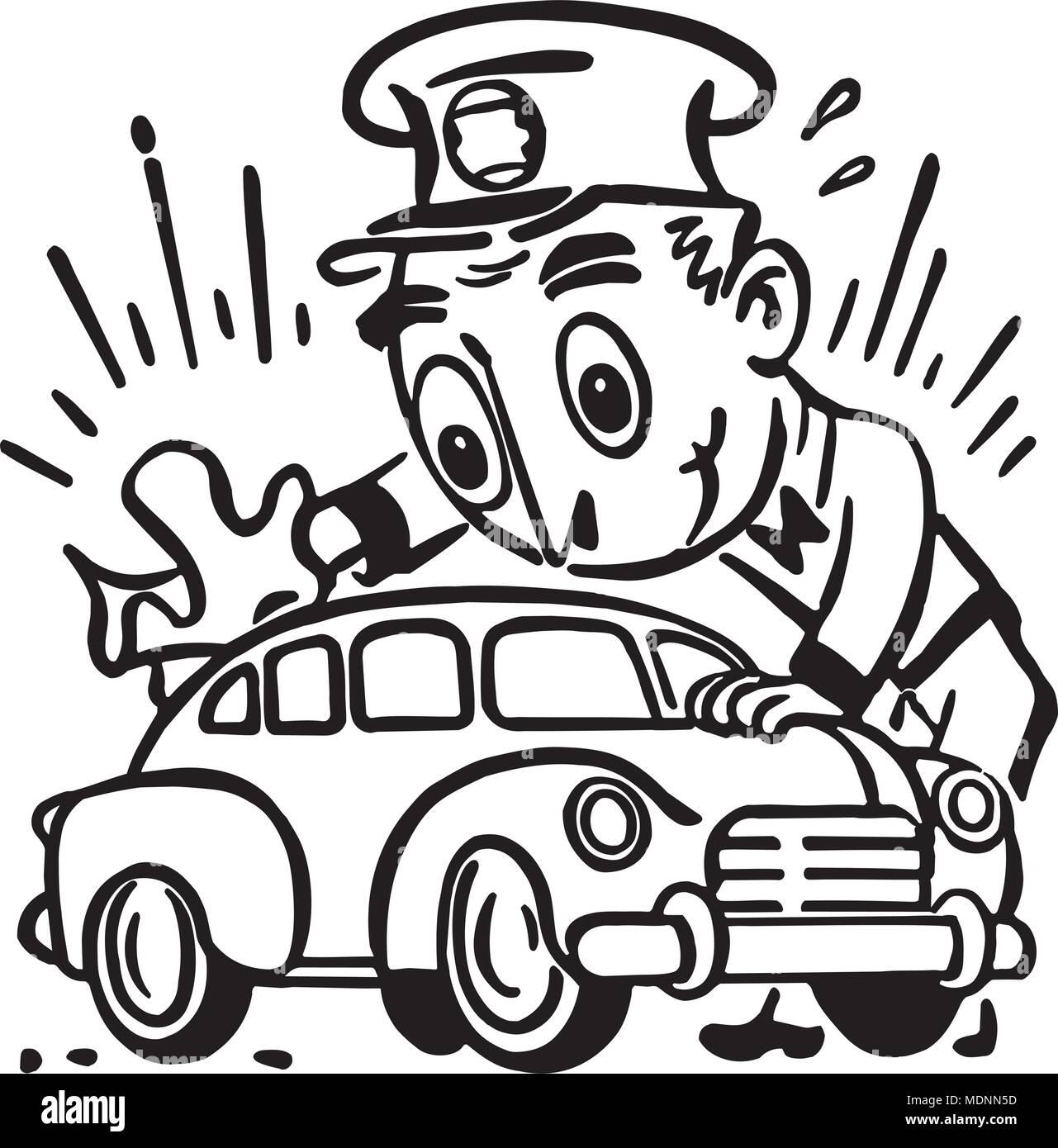 Car Wash - Retro Clipart Illustration - Stock Vector