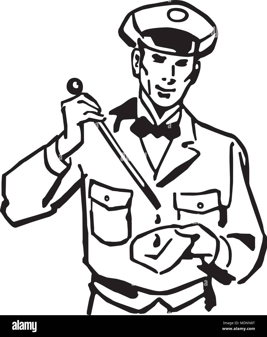 Checking The Oil - Retro Clipart Illustration - Stock Vector