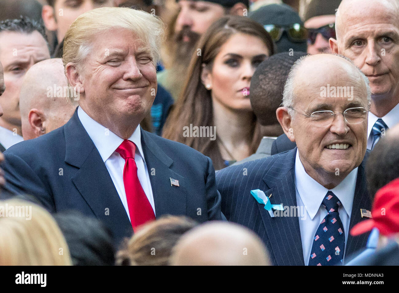 New York, USA, 11 September 2016.  US President Donald Trump greets supporters next to former New York Mayor Rudolph Giuliani in this file photo from 9/11/2016 at the September 11 Memorial in New York City.  Giuliani will join Trump's legal team in an effort to resolve the special counsel's Russia inquiry, it was announced on April 19, 2018. Photo by Enrique Shore / Alamy Stock Photo Stock Photo