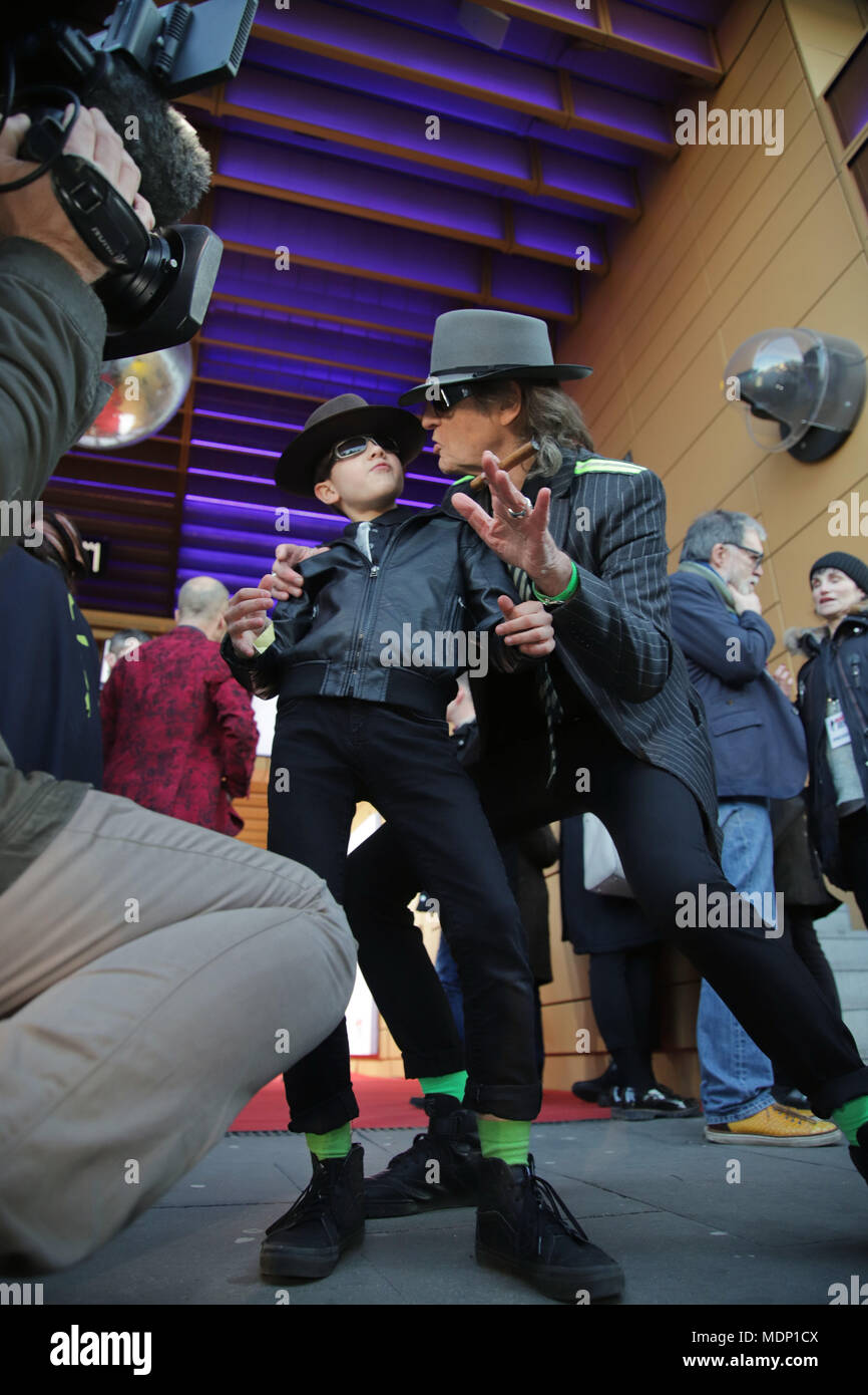 the opening of the Udo Lindenbergs Panikcity   museum at the Spielbudenplatz in Hamburg 19.03.2108  Featuring: Udo Lindenberg mit kleinem Fan Where: Hamburg, Germany When: 19 Mar 2018 Credit: Becher/WENN.com - Stock Image