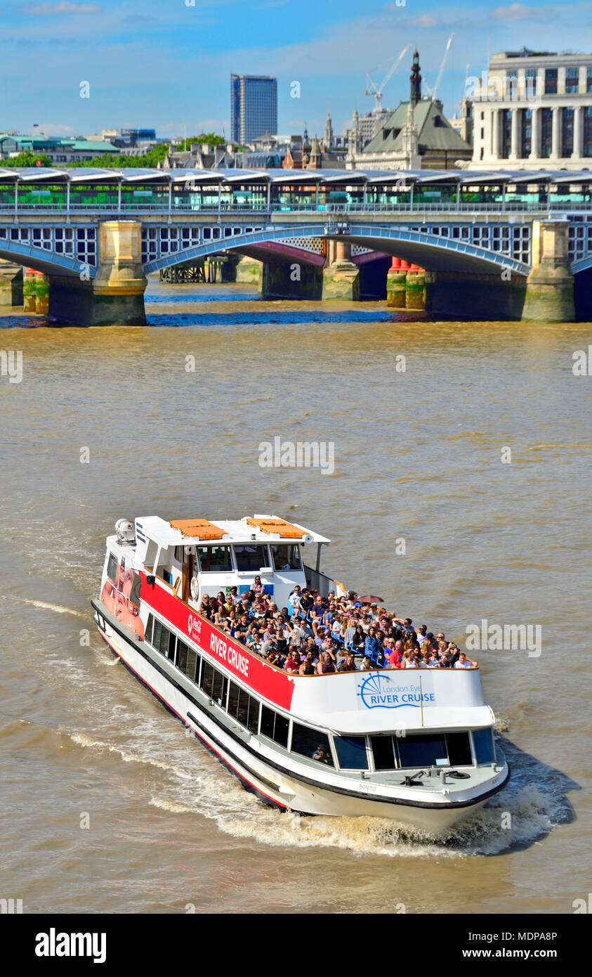 London, England, UK. Tourist cruise boat on the River Thames 'London Eye River Cruise' - Stock Image