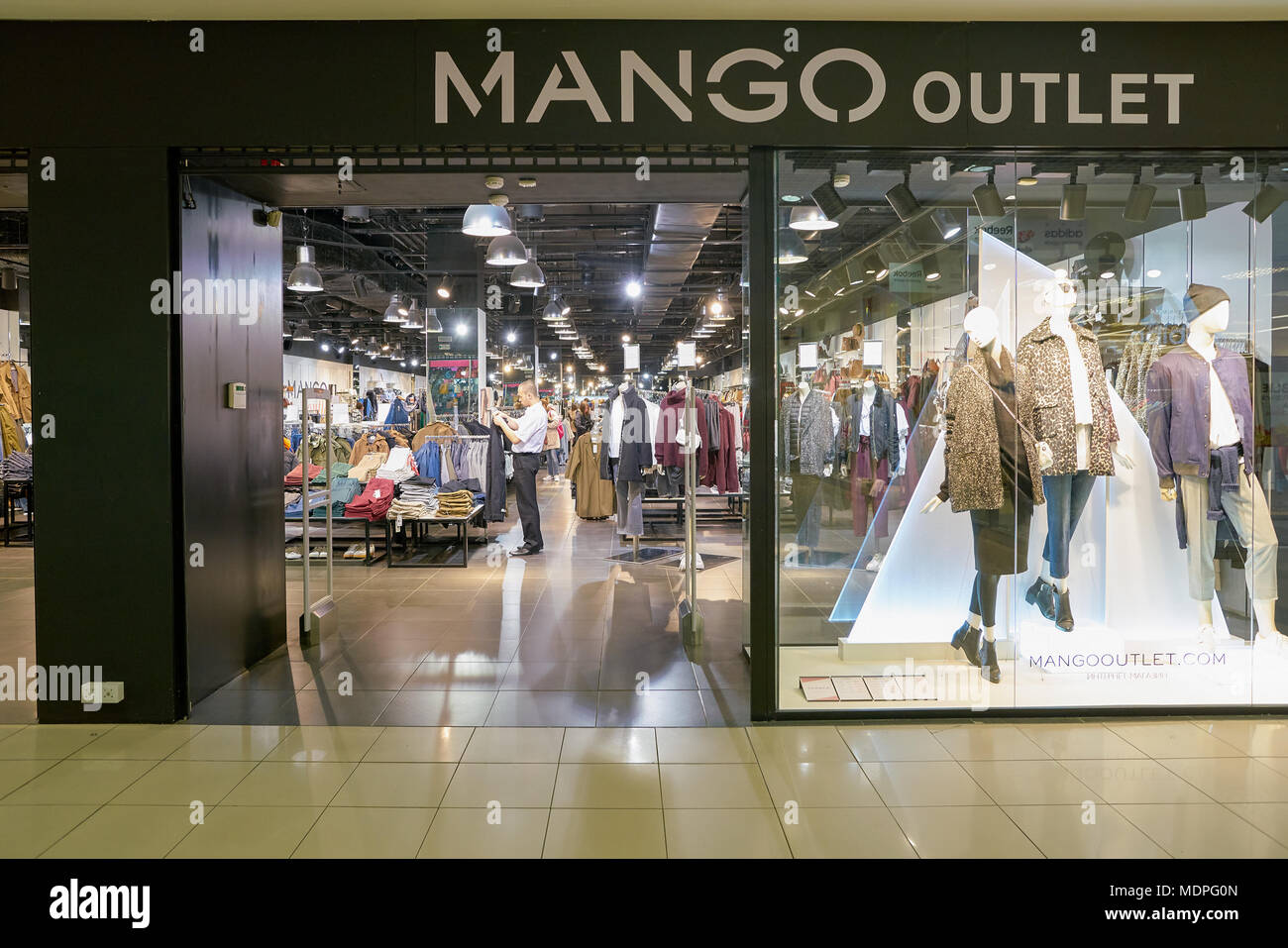 127762360812f SAINT PETERSBURG, RUSSIA - CIRCA OCTOBER, 2017  Mango outlet in Saint  Petersburg. Punto Fa, S.L., trading as MANGO, is a Spanish clothing design  and m