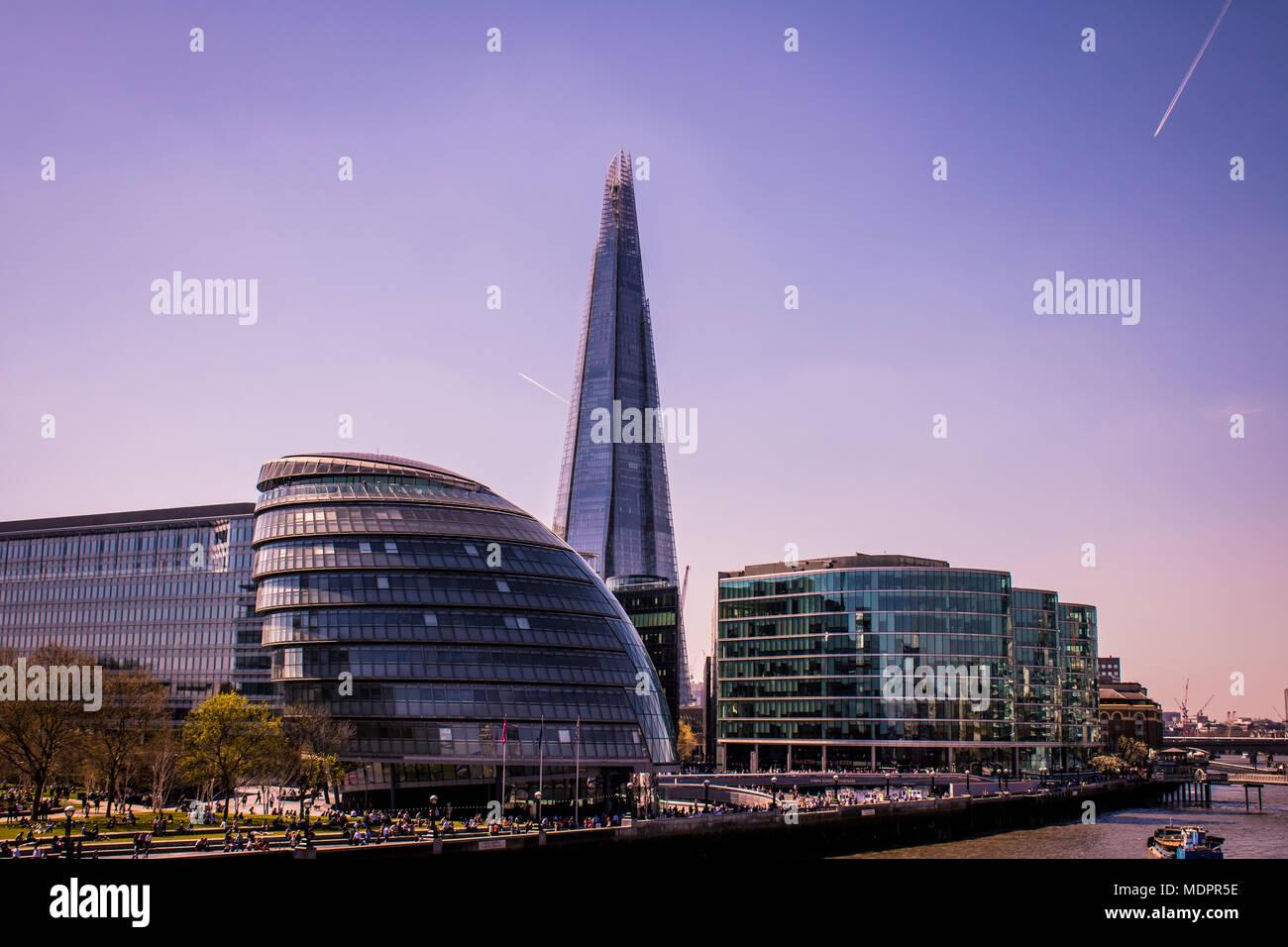 Sun rising over the Beautiful Landmarks of London. View of the Shard and London Bridge. Sensational Summer. - Stock Image