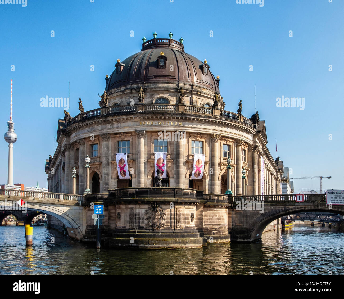 Berlin, Mitte, Museum Island. Bode Museum exterior & façade.Historic baroque building  on Spree river housing collections of Sculpture Byzantine Art,  - Stock Image