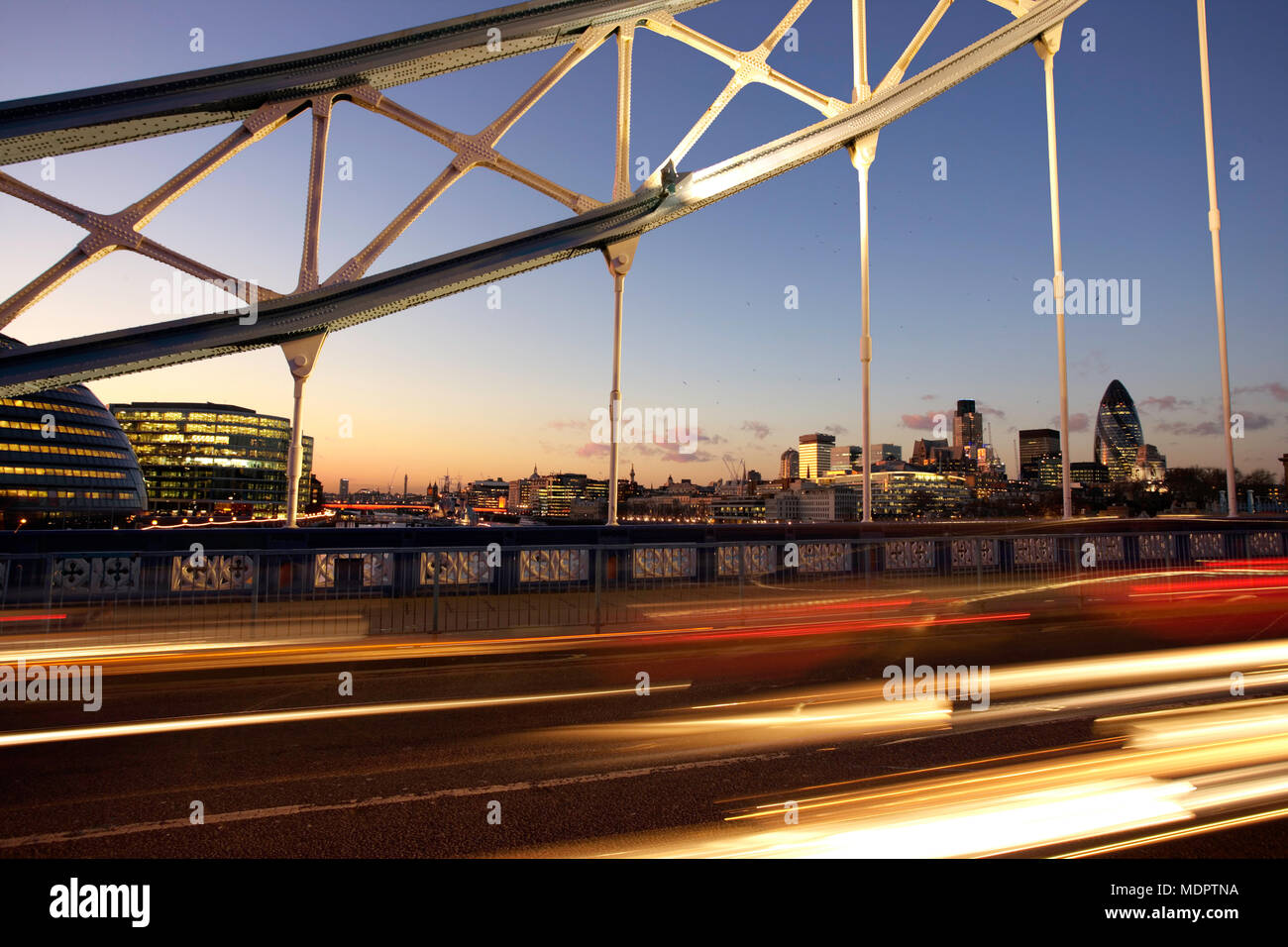 London, UK; view of the City from Tower Bridge. Stock Photo