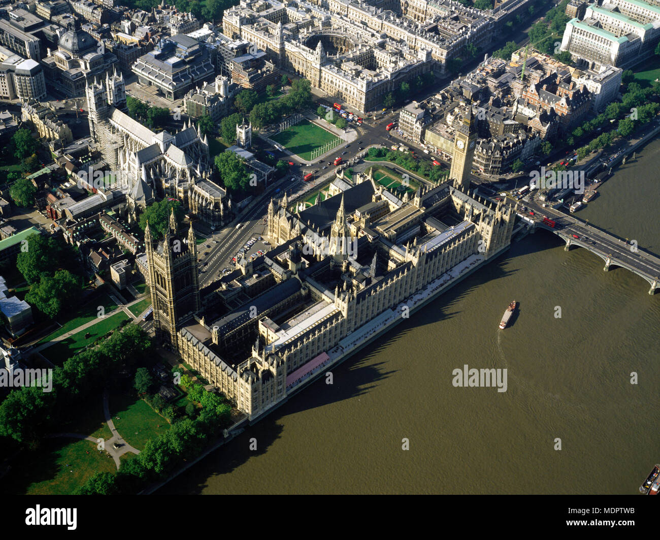 London, UK; Aerial view of the Houses of Parliament - Stock Image