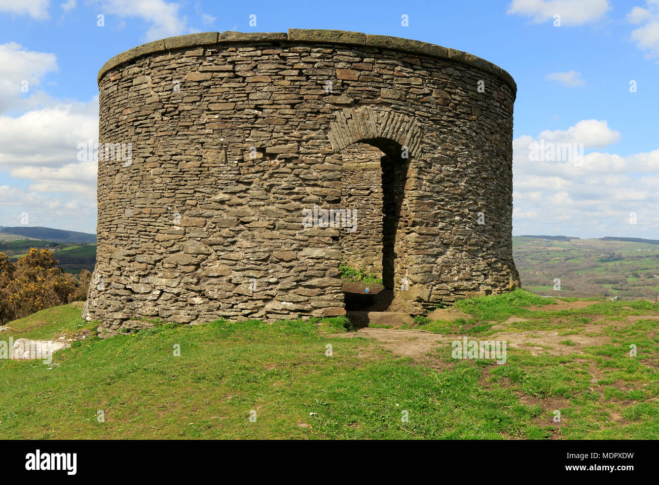 Billy Wynt on the Graig, Llantrisant, South Wales, UK. This stone tower can be found at the highest point in Llantrisant. - Stock Image