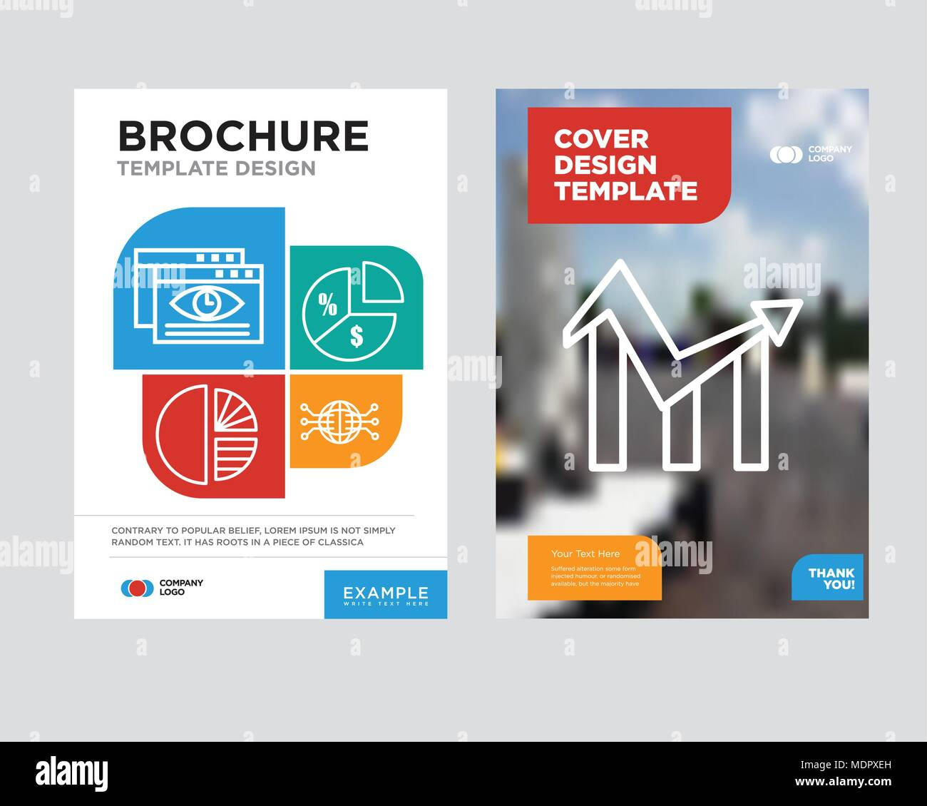 Chart Brochure Flyer Design Template With Abstract Photo Background
