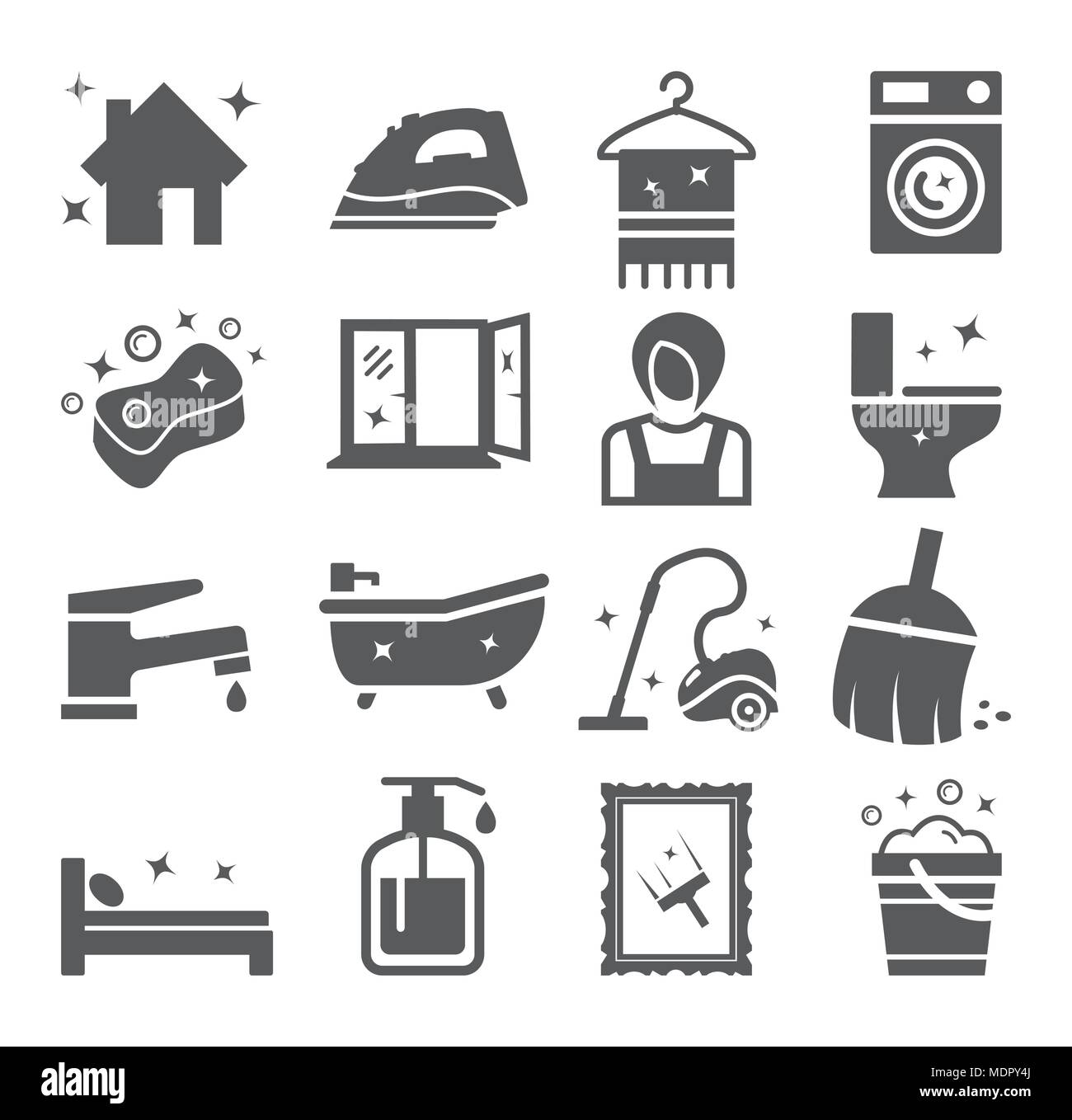 Cleaning and Housework icons - Stock Vector