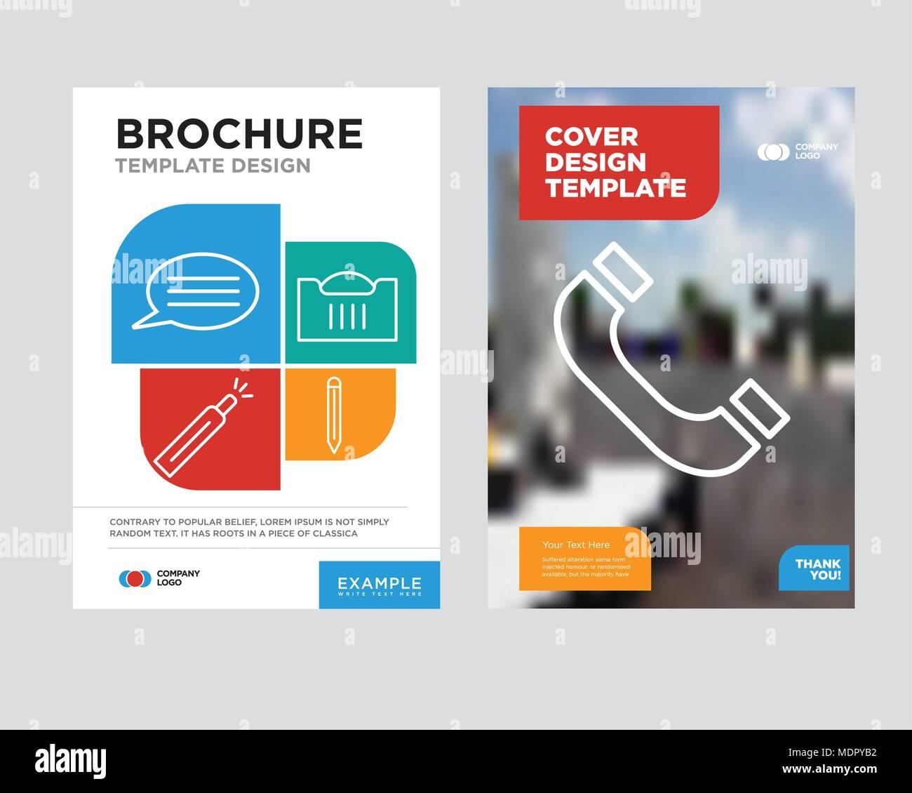headphones brochure flyer design template with abstract photo