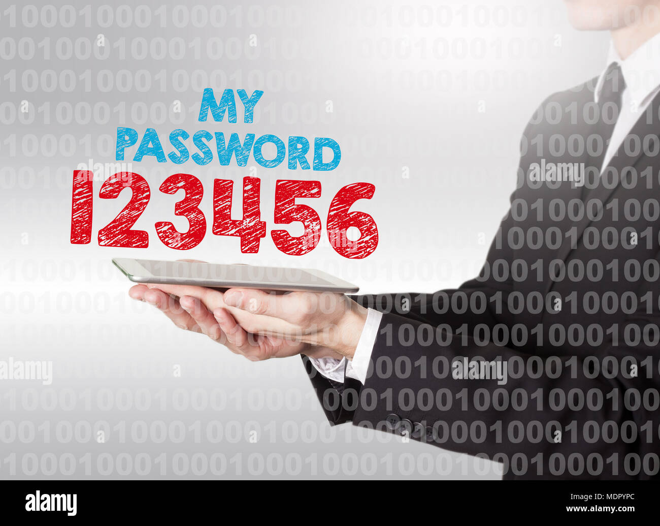 Internet password security concept. Binary code with text. Man holding a tablet computer - Stock Image