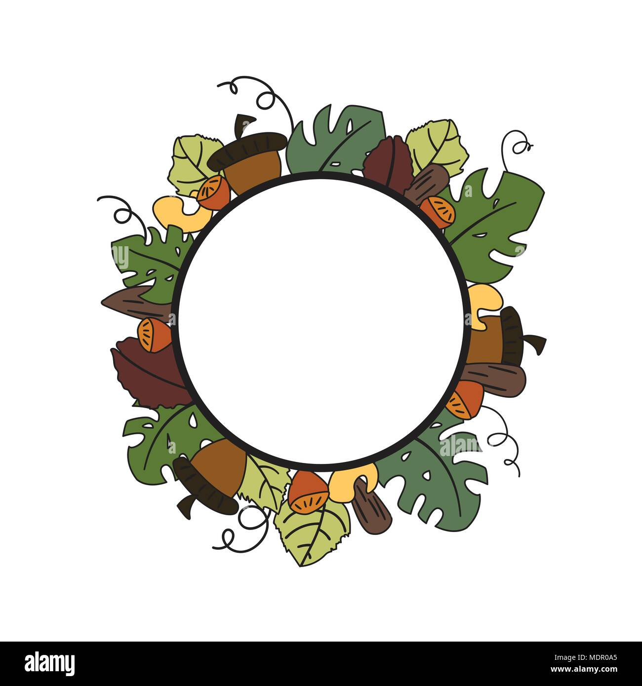 Cute hand draw floral circle frame banner template Stock Vector Art ...