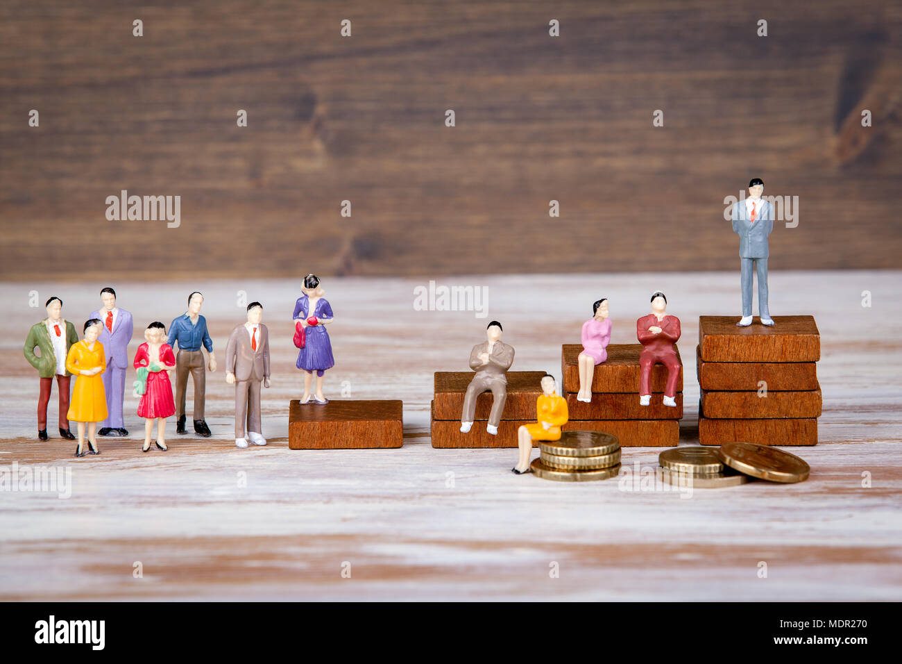 Career ladder. The future of work, competition and business background. Colorful Human miniatures - Stock Image