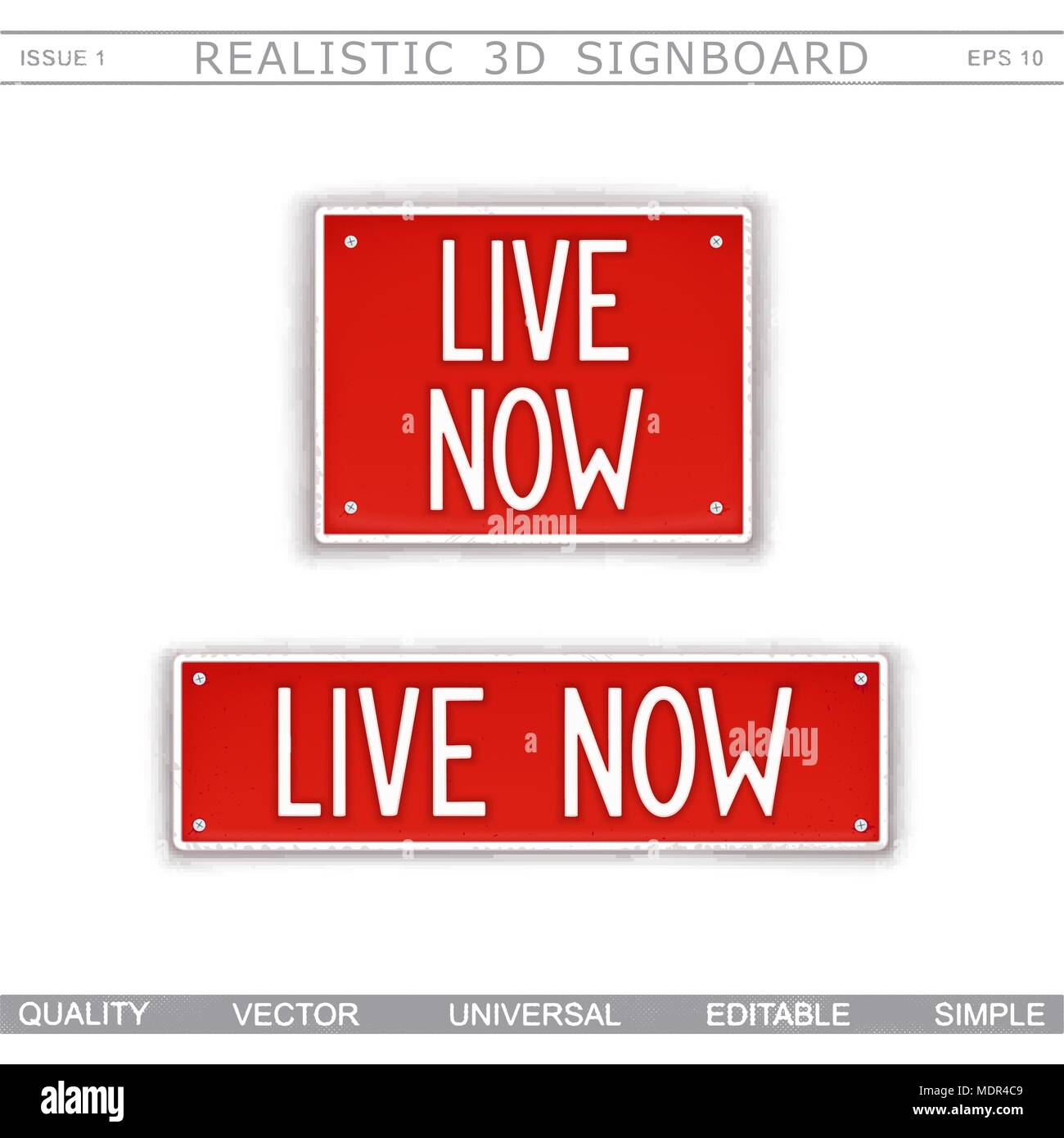 Live Now. Signboard stylized car license plate. Top view. Vector design elements - Stock Image