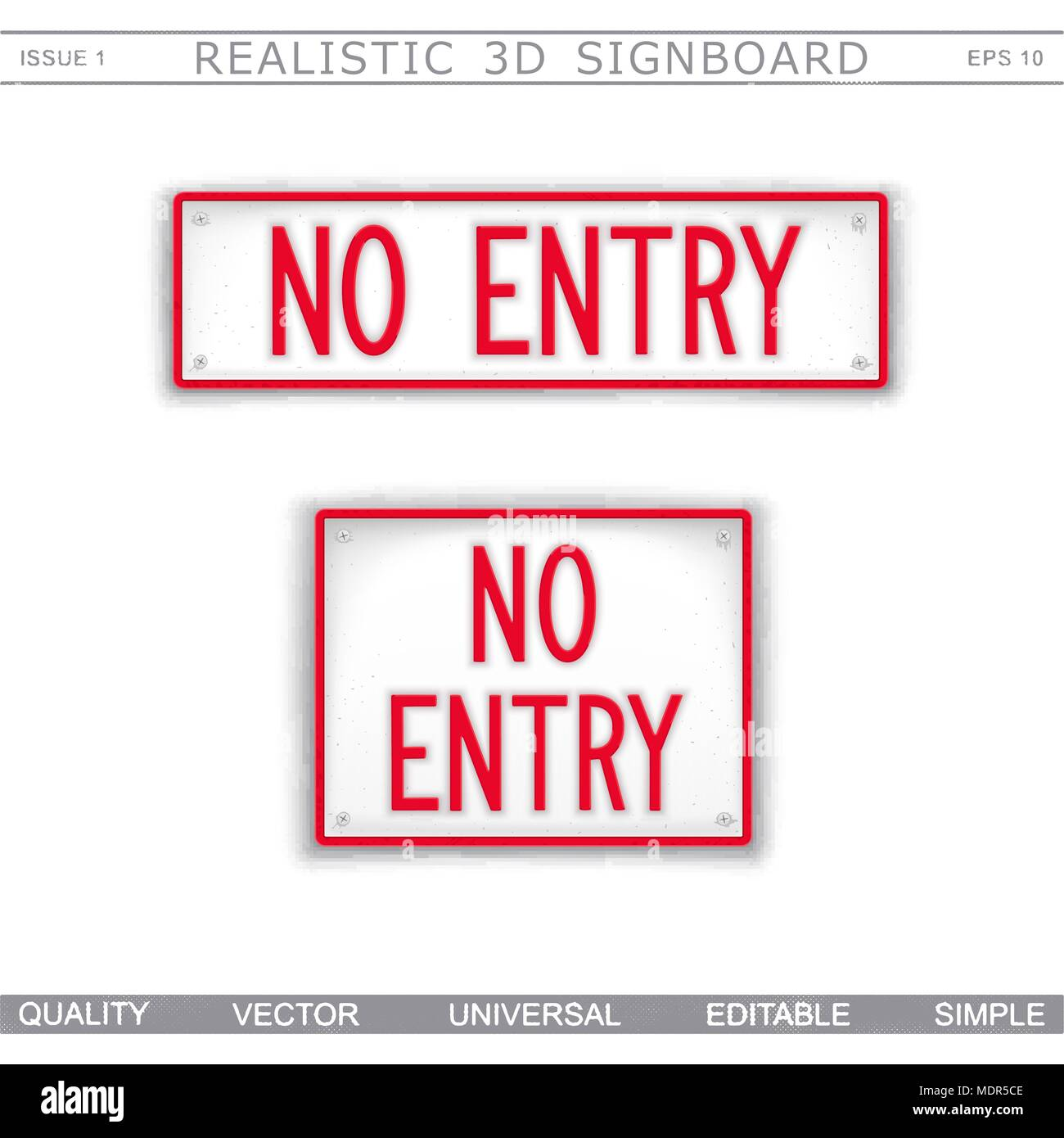 No Entry. Information signboard. Top view. Vector design elements - Stock Image