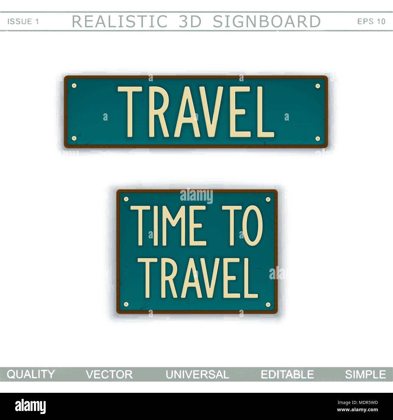 6de7490876 Time to travel. Vintage signboard. Stylized license plate. Top view. Vector  design elements