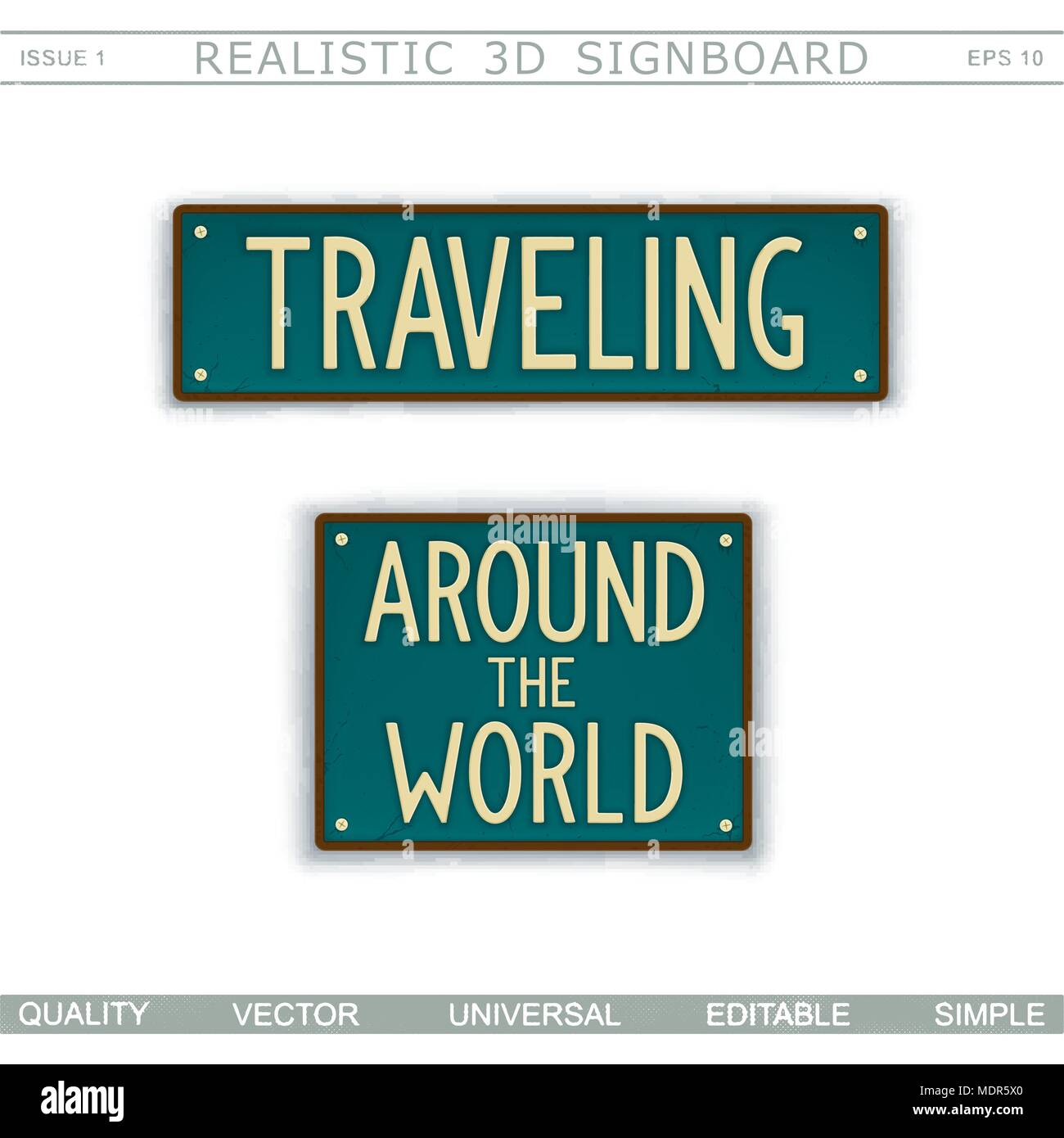 traveling around the world vintage signboard stylized license