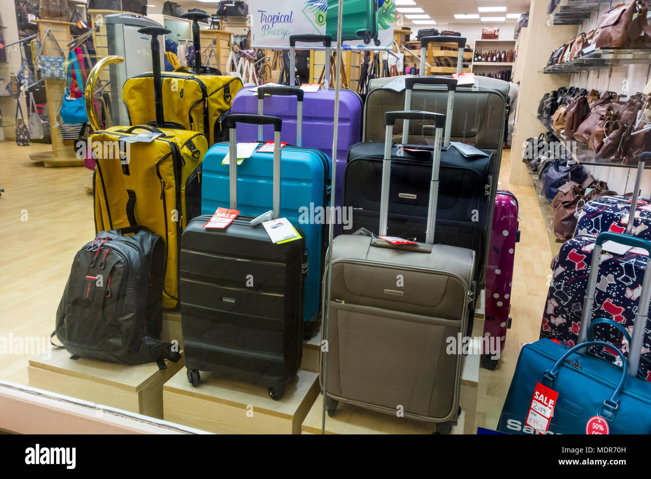 luggage on display stock photos luggage on display stock images alamy. Black Bedroom Furniture Sets. Home Design Ideas