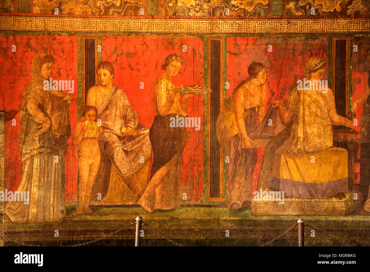 Pompei, Italy; frescos in Villa dei Misteri. - Stock Image