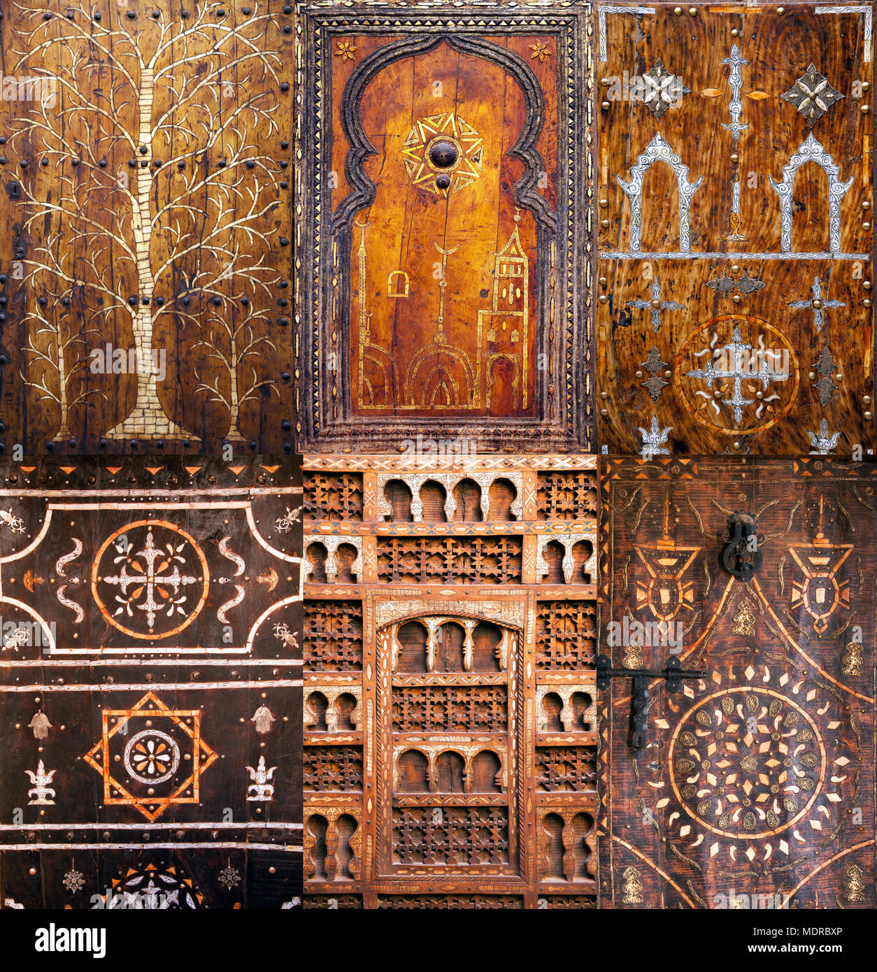 Montage of antique Moroccan doors - Montage Of Antique Moroccan Doors Stock Photo: 180608478 - Alamy