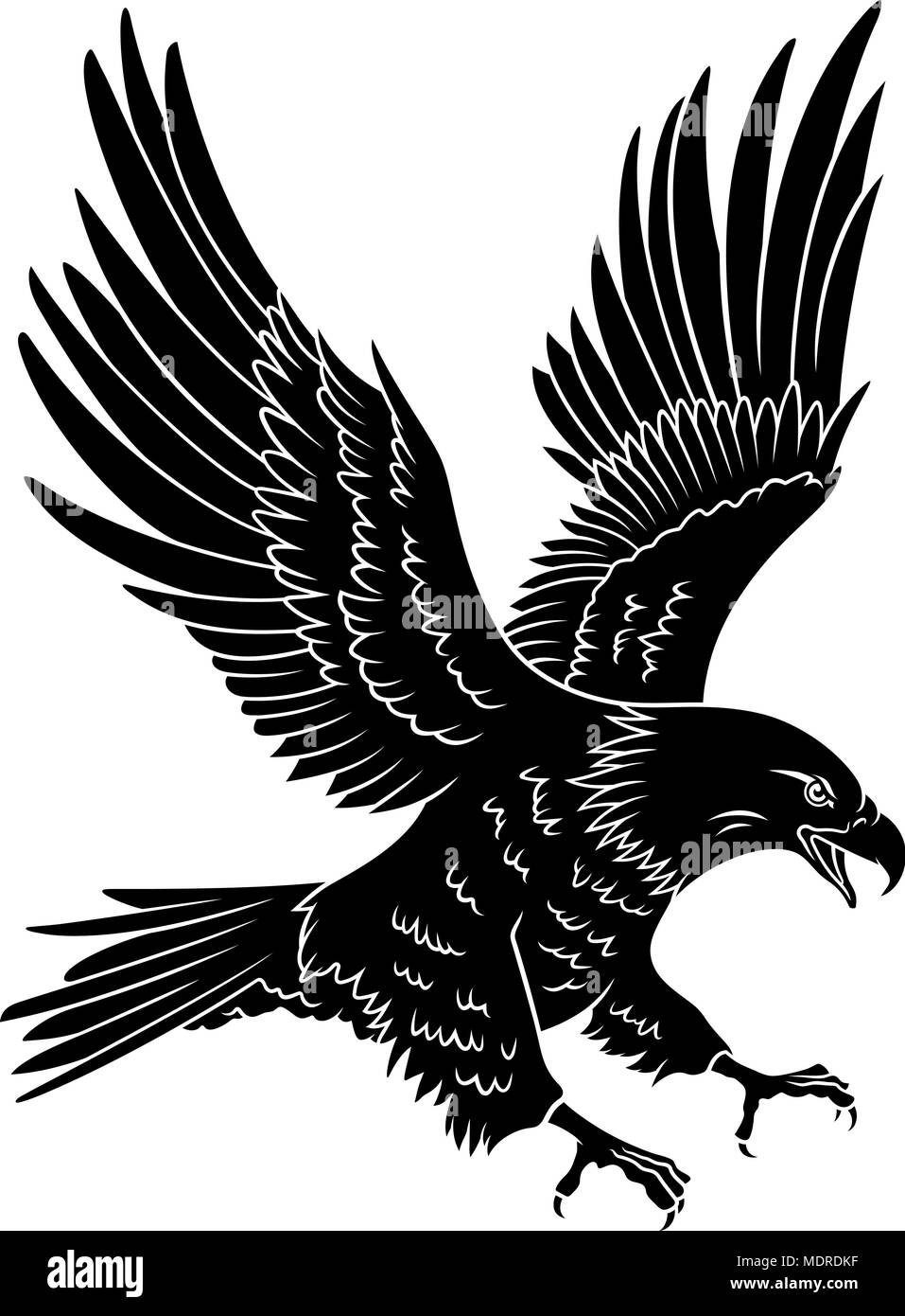 bald eagle silhouette isolated on white this vector illustration rh alamy com Tribal Eagle Tattoo Eagle Wings Tattoo
