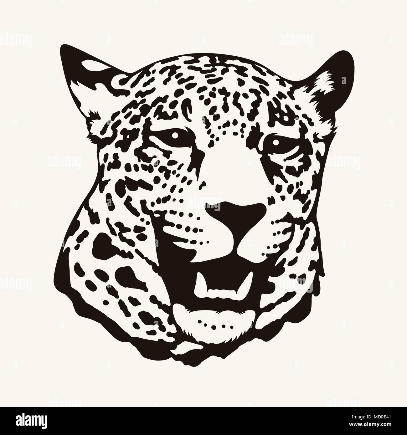 Vector illustration of a leopard head in one color. T-shirt design - Stock Image