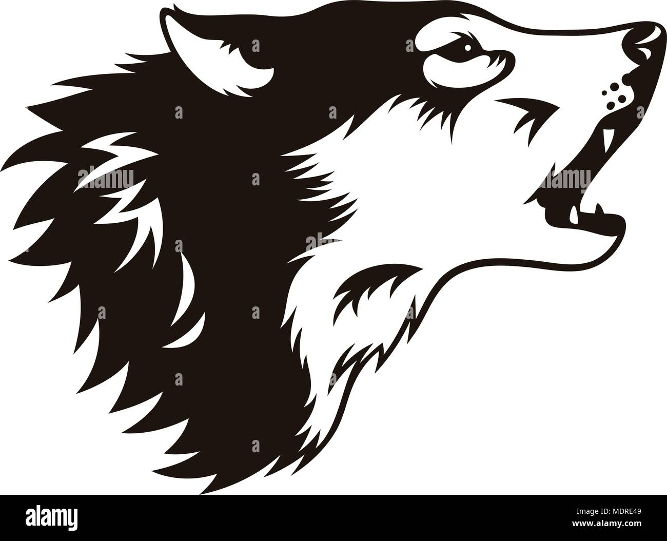 Stylised head of wolf isolated on white. This vector illustration can be used as a print on T-shirts, tattoo element or other uses - Stock Vector