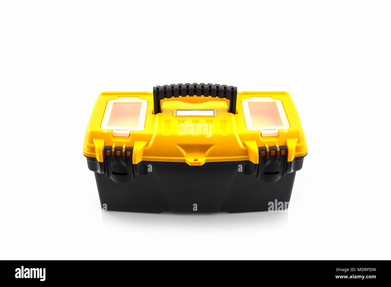 Yellow tool box, Plastic tool box on white background. - Stock Image