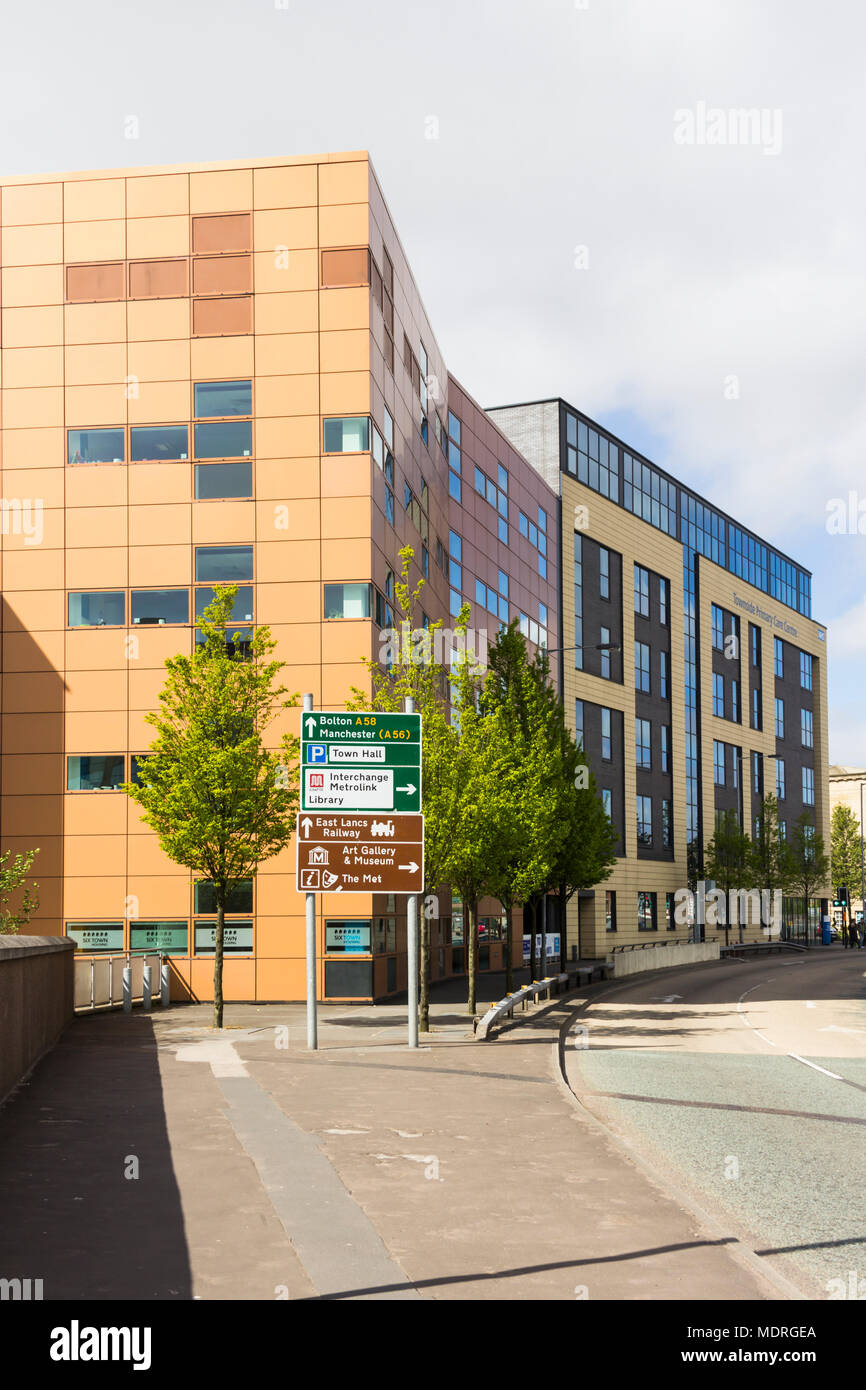 SixTown Housing and Townside Primary Care office buildings on Angouleme Way, Bury, Greater Manchester. - Stock Image