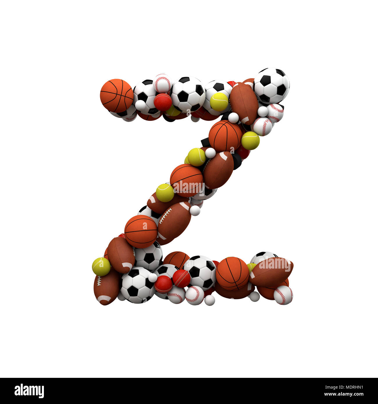 Letter Z  Font made from sports balls  3D Rendering Stock Photo