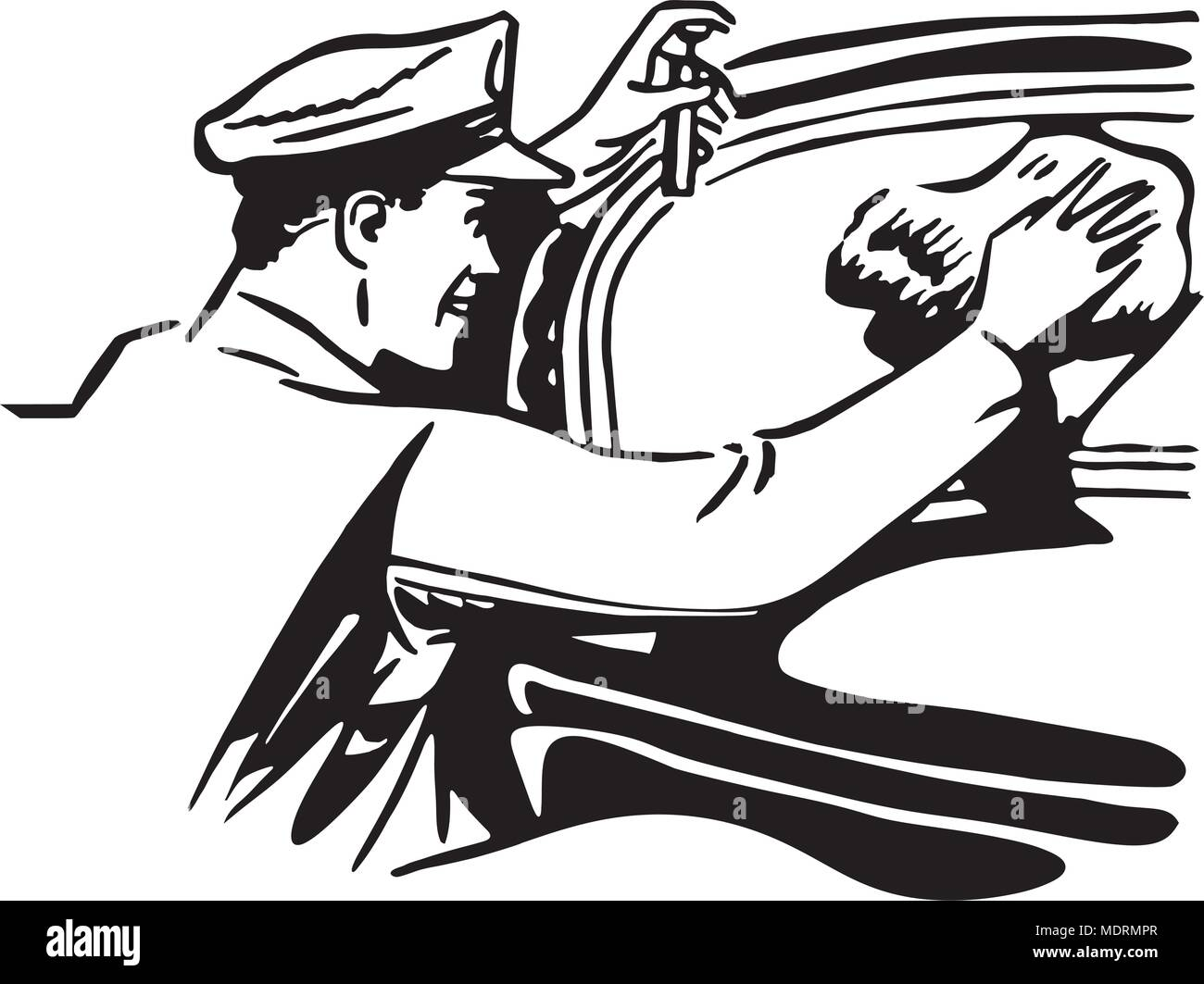Cleaning Windshield - Retro Clipart Illustration - Stock Vector