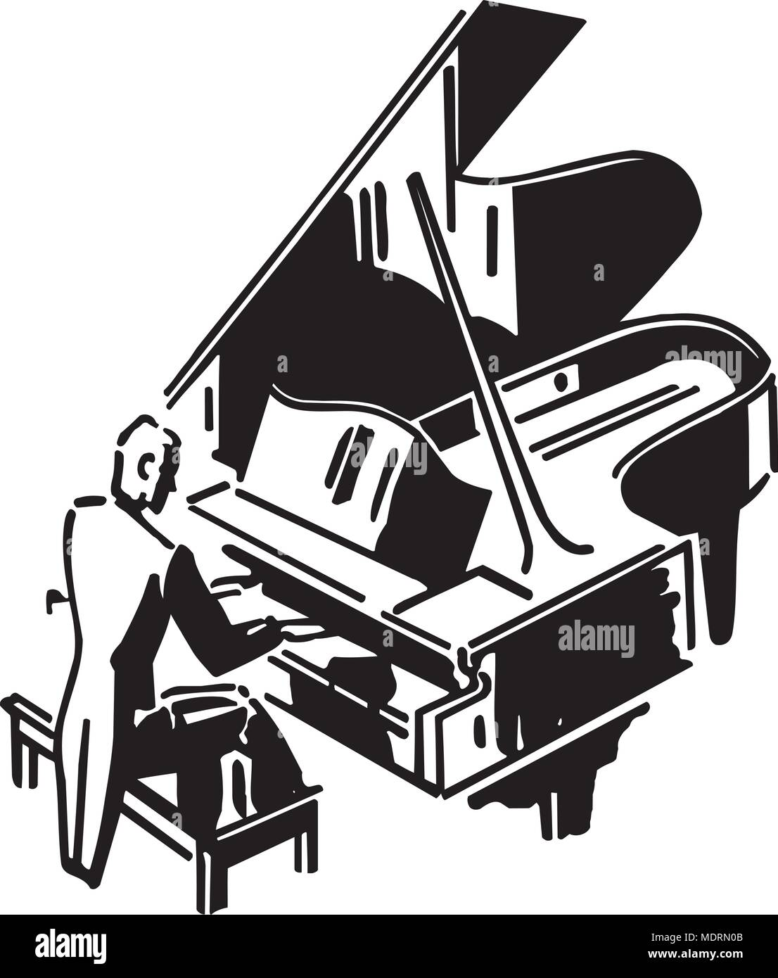 Concert Pianist - Retro Clipart Illustration - Stock Image