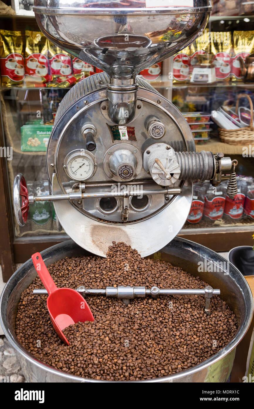 Sarajevo, Bosnia-Herzegovina, July 16 2017: Large Coffee Grinder in front of coffee store in old town Sarajevo Stock Photo