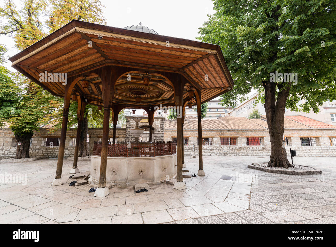 Sarajevo, Bosnia-Herzegovina, July 16 2017: The fountain in the courtyard of Gazi Husrev-beg Mosque in old town of Sarajevo - Stock Image