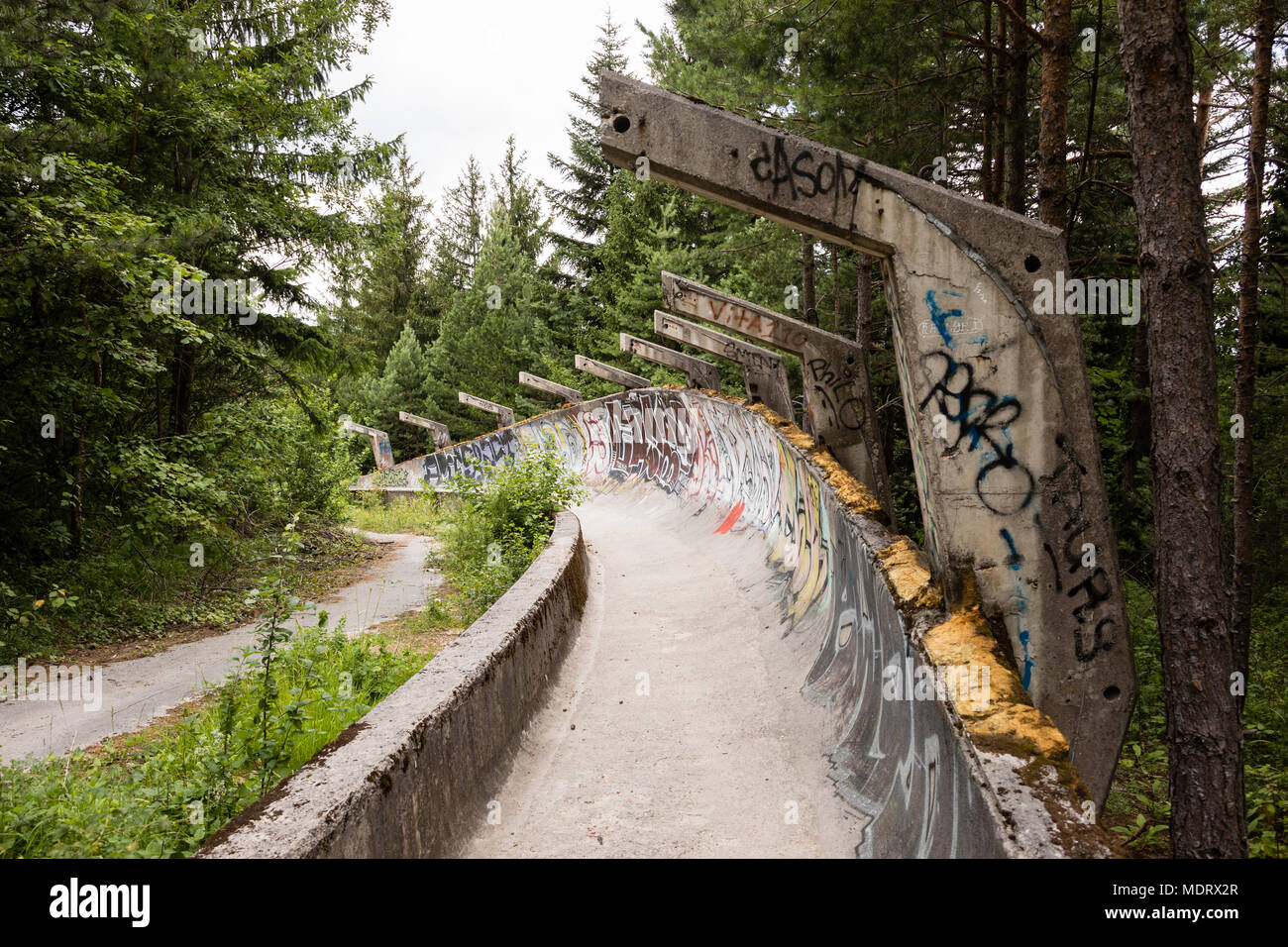 Sarajevo, Bosnia-Herzegovina, July 16 2017: The former 1984 Olympic bobsleigh and luge run in the mountains outside of Sarajevo - Stock Image